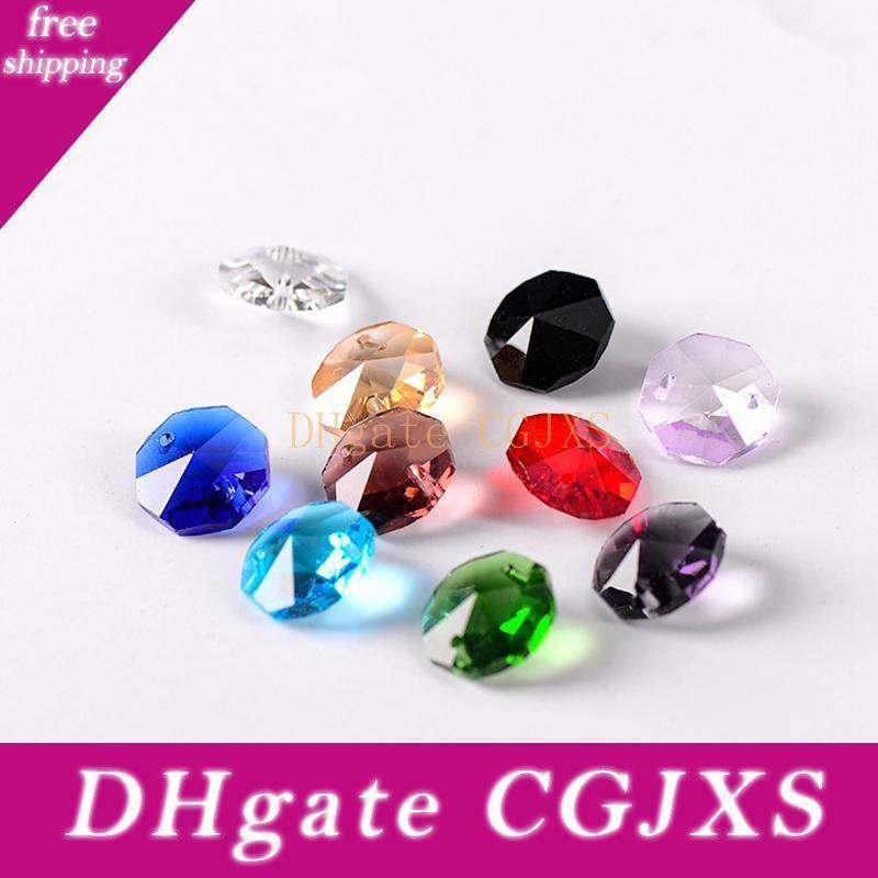 14mm Perles octogone 2 trous Rideau Pendentif Accessoires lustre en cristal Sparkle Diy lampe en cristal Accessoires