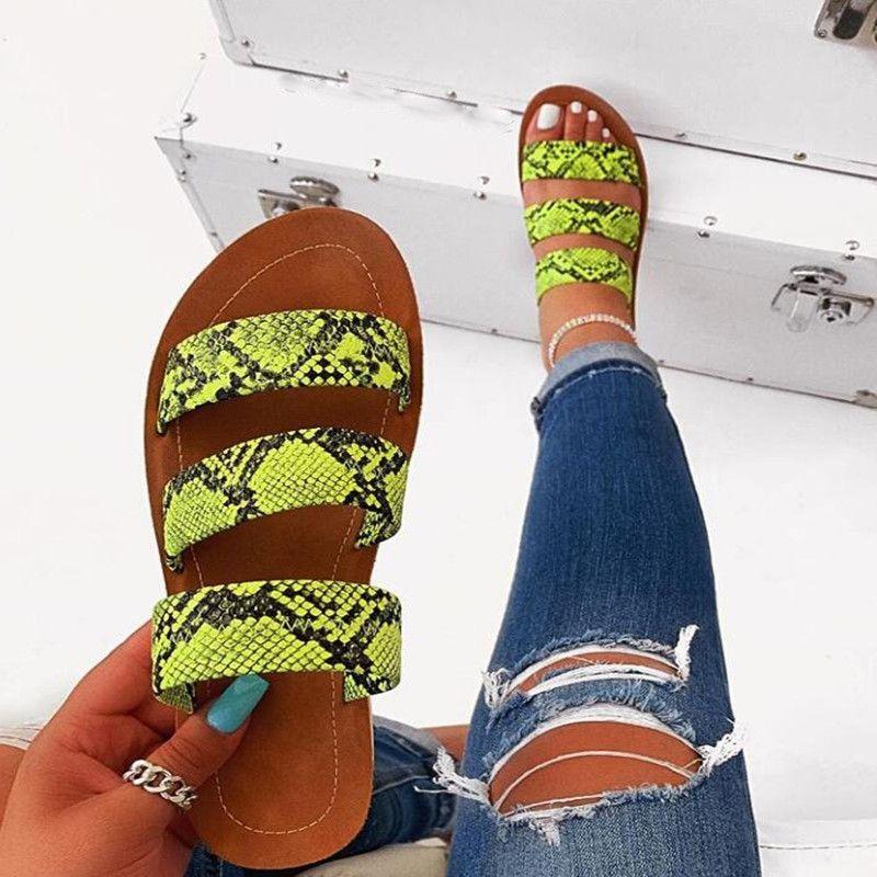 2020 новый большой сандалии размер змея шаблон плоский корейский стиль сандалии и тапочки тапочки женщин