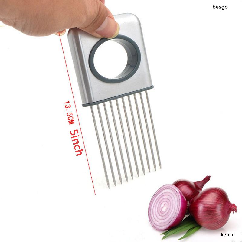 Easy Onion Holder Slicer Fruit Vegetable Tool Tomato Cutter Stainless Steel Loose Meat Needle Kitchen Gadget No More Stinky Hands BH2631 DBC