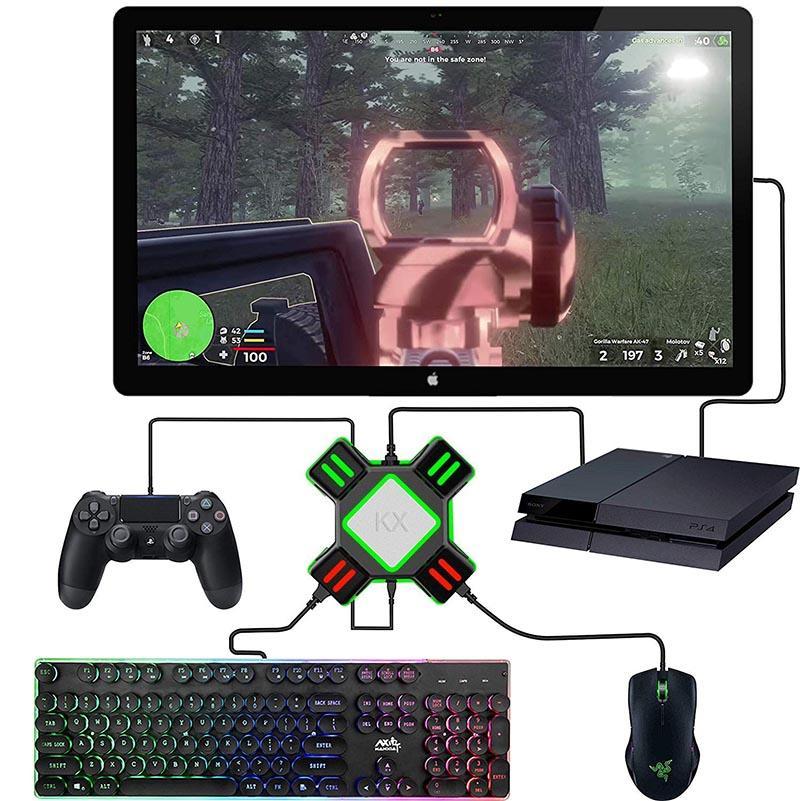 KX USB لعبة محولات تحويل صندوق لعبة فيديو لوحة المفاتيح ماوس تحكم دعم محول تبديل / إكس بوكس / PS4 / PS3