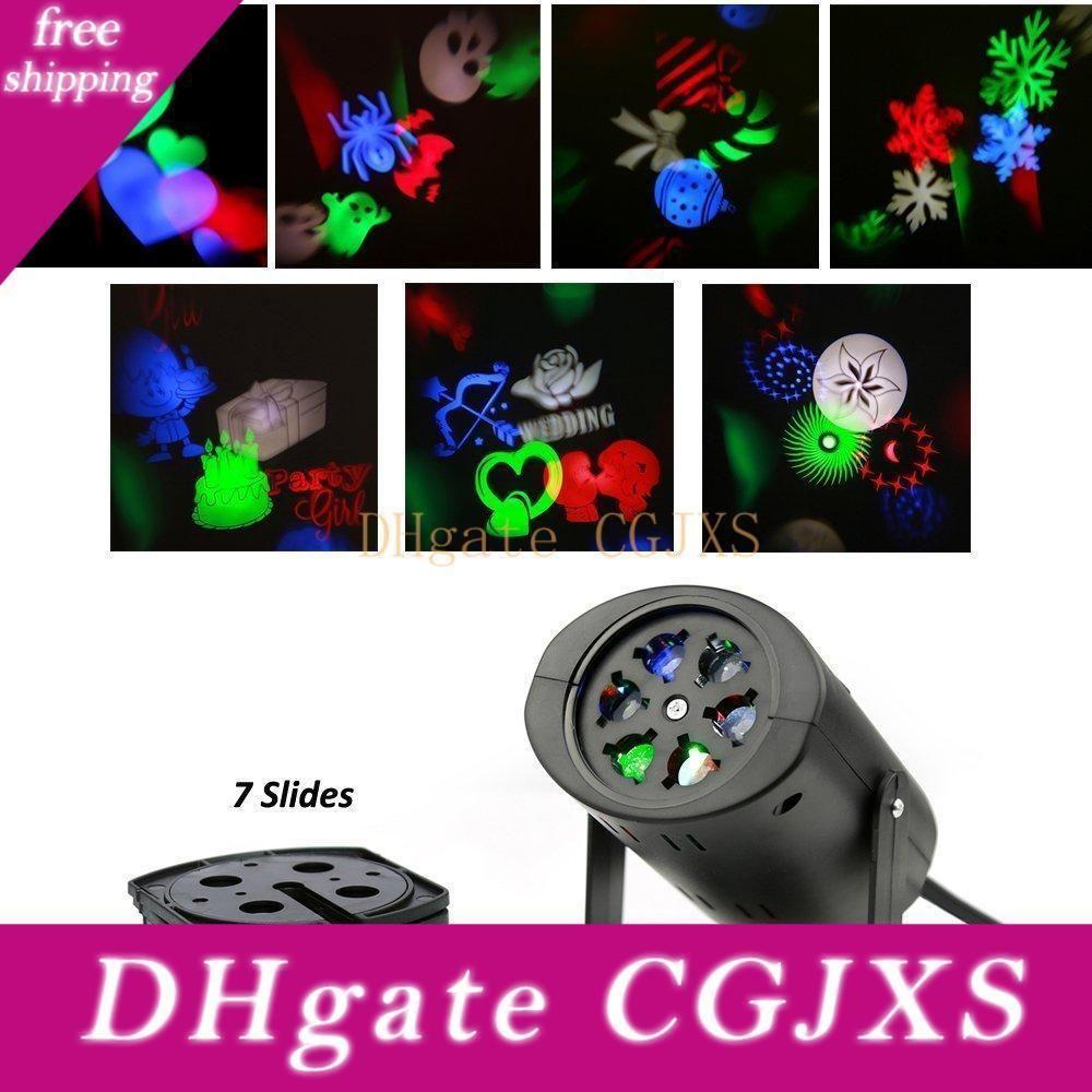 Döner RGB Projeksiyon Lazer Aydınlatma ile 7pcs Değiştirilebilir Desen Mercek Projektör Işık Duvar Lambası Tatil Düğün Noel Işık