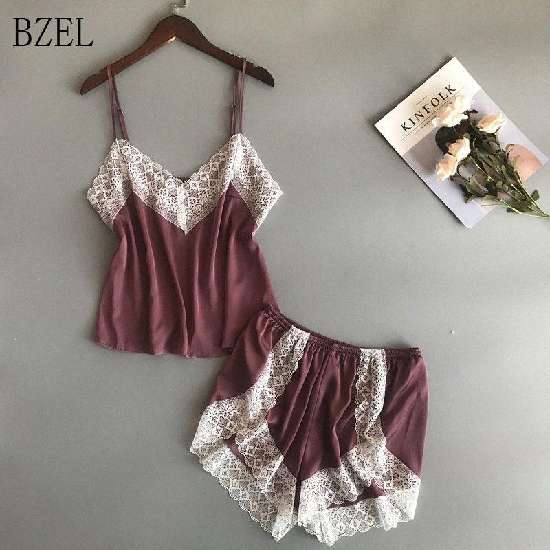 BZEL pijamas nuevos sistemas atractivos de encaje pijamas para las mujeres con cuello en V ropa interior Pijama Femme verano ropa de noche de satén ropa de dormir de la ropa interior femenina B9Ez #