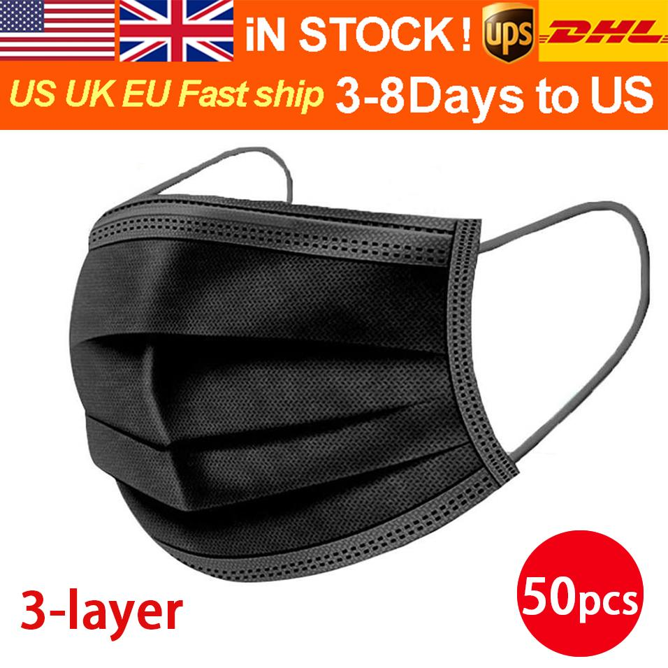 DHL/UPS 3-8 Days To US/EU 50pcs with Box Disposable Face Masks with Elastic Ear Loop 3 Ply Breathable Dust Air Anti-Pollution Face Mask