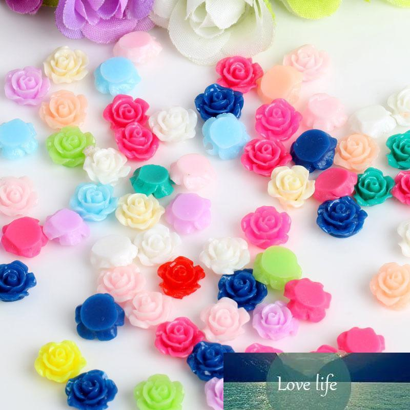 100 / porción Los colores mezclados 10mm de flores rosa de plástico de bolas de bricolaje cabujón de resina plana con artesanía paillette
