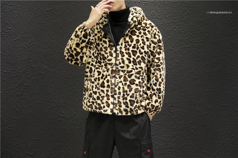 Jacken Mode Warm Panelled Mens Zipper mit Kapuze Jacken beiläufige Taschen-Männer Kleidung Leopard-Druck-Männer Designer