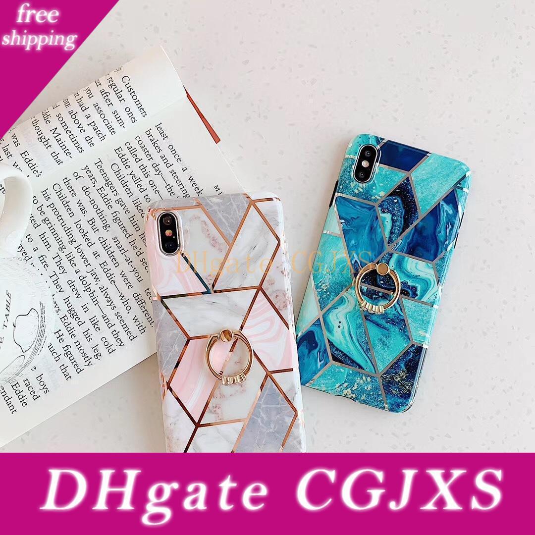 Téléphone Mignon marbre étuis pour iPhone Xs Max Xr 6 6s 7 8 Plus X Xs 11 Pro Max souple époxy couverture arrière avec le doigt Cadeaux anneau