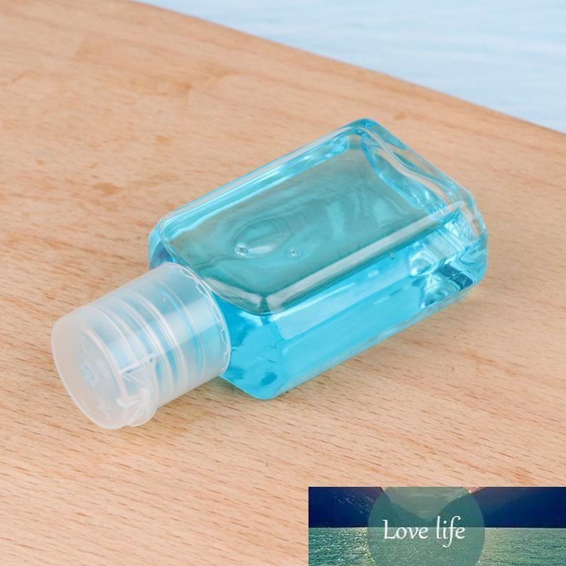 botella de plástico con flip mano top30ml desinfectante tapa PET botella clara forma cuadrada para cosméticos desinfectante de manos desechable