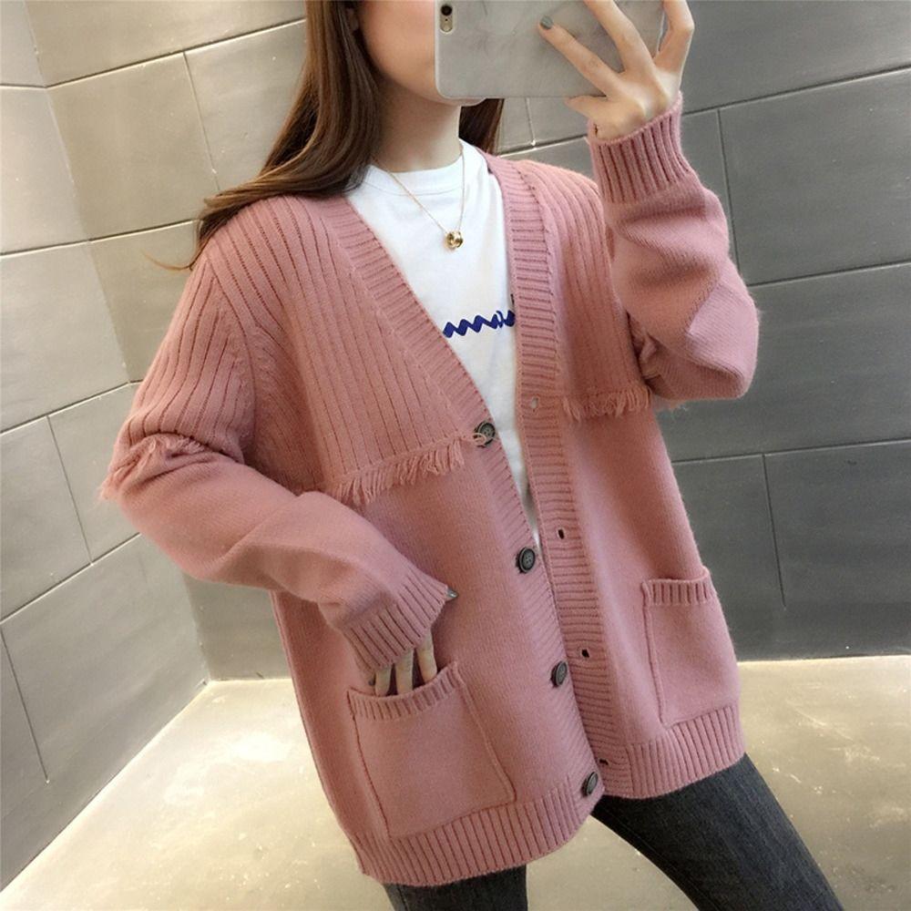 nXtlh camisola nova V-neck bolso cardigan estilo preguiçoso Outono 2020 casaco solto cor sólida iwtTi casaco camisola de malha all-jogo roupas femininas