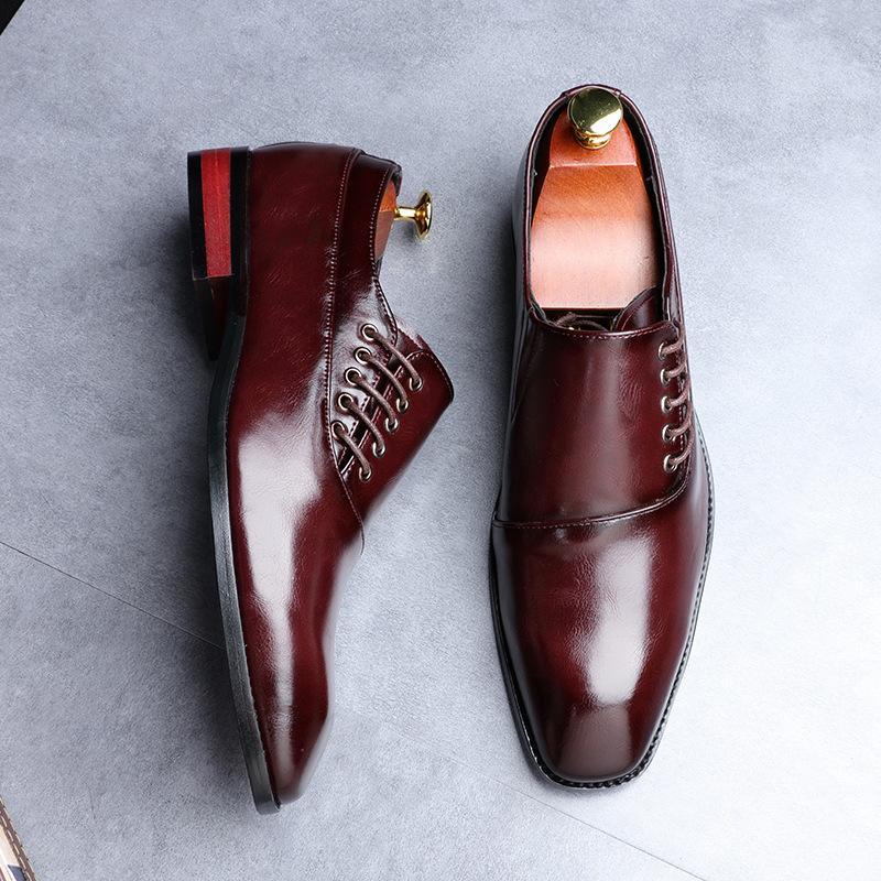 Erkekler Düğün Oxford İçin Deri Biçimsel ayakkabı Baskılar Erkekler İş Elbise Klasik Stil Kahve Siyah Sivri Burun Ayakkabı