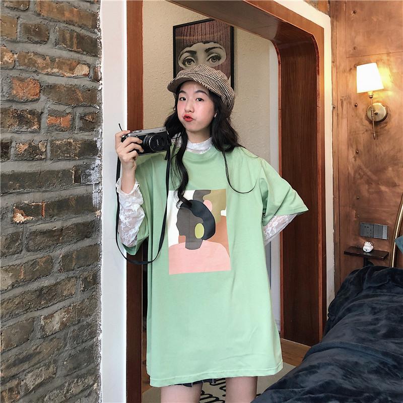 Лето Character Печать футболки Девушки Топы с коротким рукавом рубашки Vintage корейских женщин Одежда Хлопок Крупногабаритные Top тройники W879