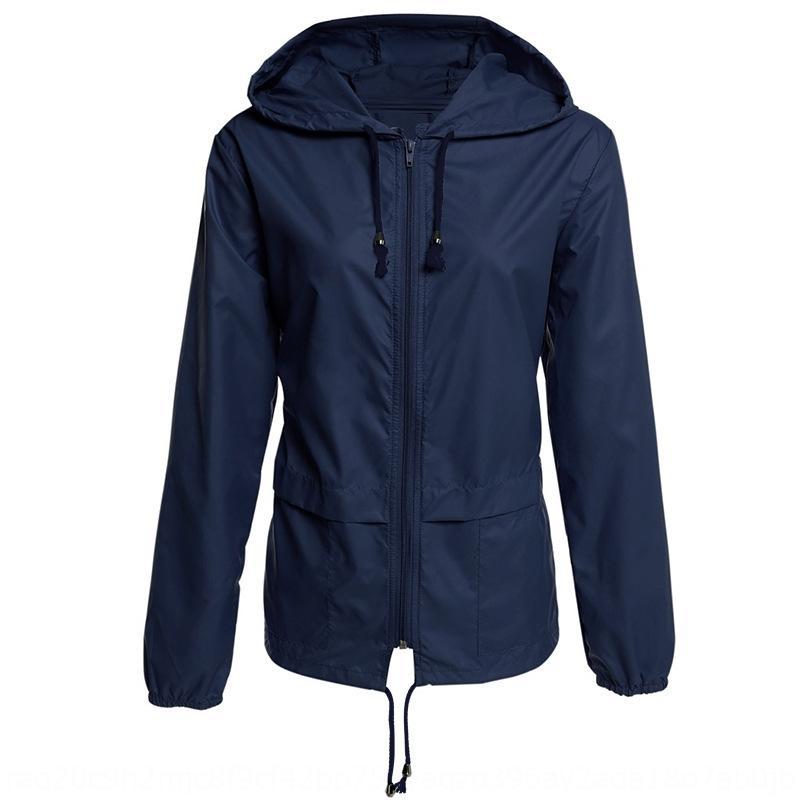 DHzEC Waterproof zipper hooded Jacket lightweight outdoor waterproof raincoat jacket thin outdoor coat for women
