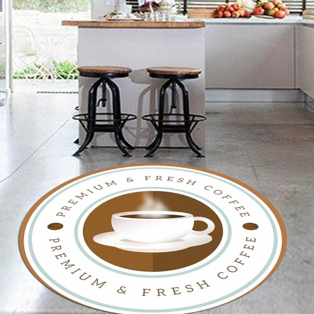 Else Brown frescos copos de café 3d padrão do impressão do Anti escorregar de volta redonda Cozinha Tapetes tapete de área para salas de estar sfUi #