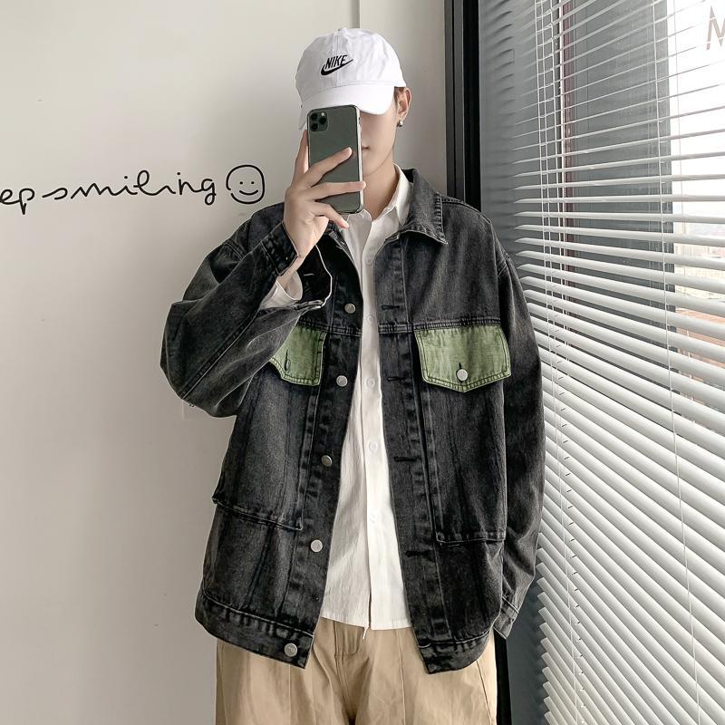 Otoño 2020 Estilo de Hong Kong suelta ropa de trabajo hombre de la chaqueta grande denim