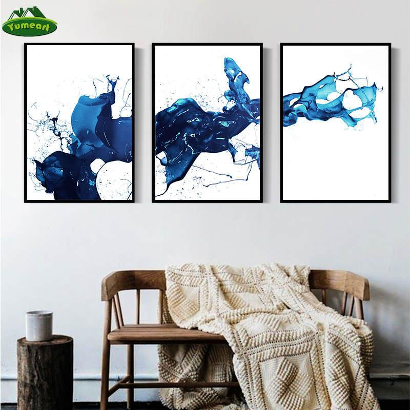 Watercolour Blue Paint Abstract Art Canvas Paintings Scandinavian Posters and Prints Wall Pictures for Living Room Home Decor