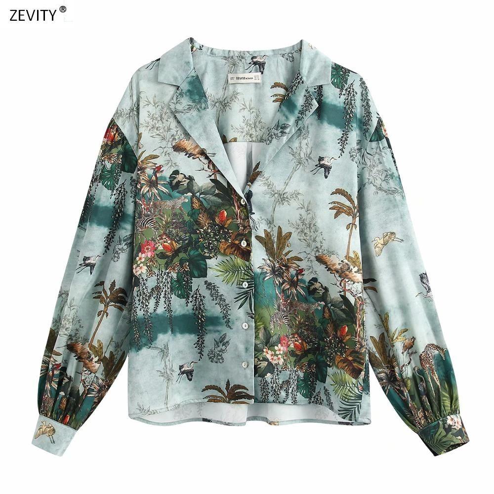 Femmes encre peinture vintage feuilles d'animaux femmes blouse à manches longues occasionnels chemise chemises de femininas de chemise chics tops 200923