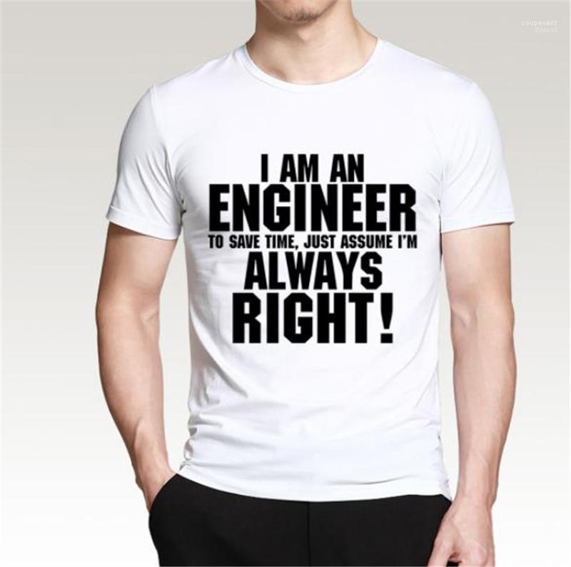 Mens magliette O Collo Shorts manica colorato Moda Uomo Tops io sono un ingegnere progettista Stampato