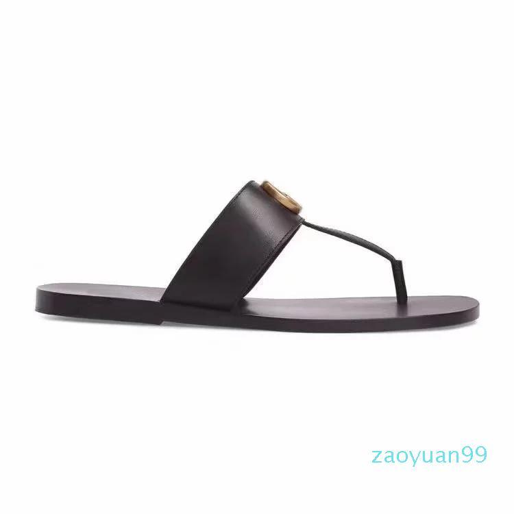 Sıcak Satış-moda Siyah yumuşak deri Francis Thong Sandalet erkek ve kadın sandalet düz plaj kayma nedensel