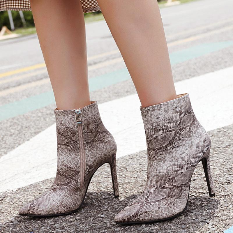 Herbst und Winter Damen Stiefel Spitz Fashion Stiefel Sexy Stiletto Snakeskin Muster Ankle Boot Große Stiefel für Frauen-beiläufige