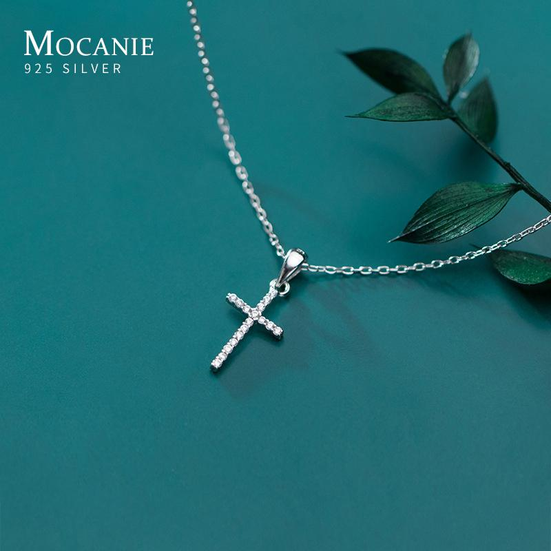 Mocanie Autumn New 925 Sterling Silver Luminous Zircon Dainty Cross Pendant Necklace for Women Ethnic Style Fine Jewelry Gift