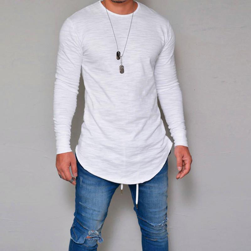 Magro manga comprida cor sólida T-shirt ocasional de homens novos Kanye West Tops Qualidade O-Ne Camiseta Homens Top Tee WGTX61