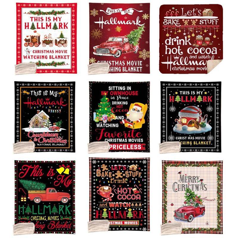 عيد الميلاد بطانية 130 * 150CM عيد الميلاد الطباعة التصميم الرقمي بطانية طبقة المرجان الصوف واحدة لحاف ميلاد سعيد عيد الميلاد صوفا رمي بطانية OOA9015