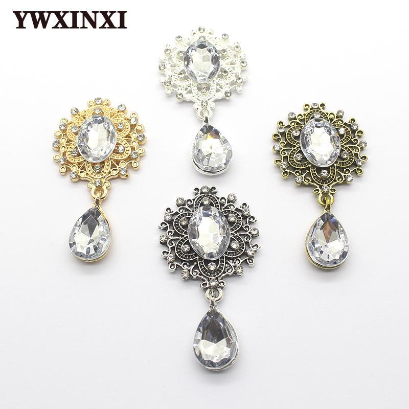 Brillante fragile Spilla 45 * 25mm 10pcs / set Accessori di cristallo di modo splendido di cerimonia nuziale della decorazione di festa creativo