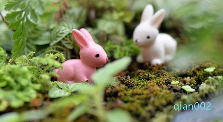 الجنية حديقة مصغرة أرنب أرنب أبيض أو وردي اللون الاصطناعي الأرانب الصغيرة الديكورات الراتنج الحرف بونساي الديكورات عيد الفصح الأرنب