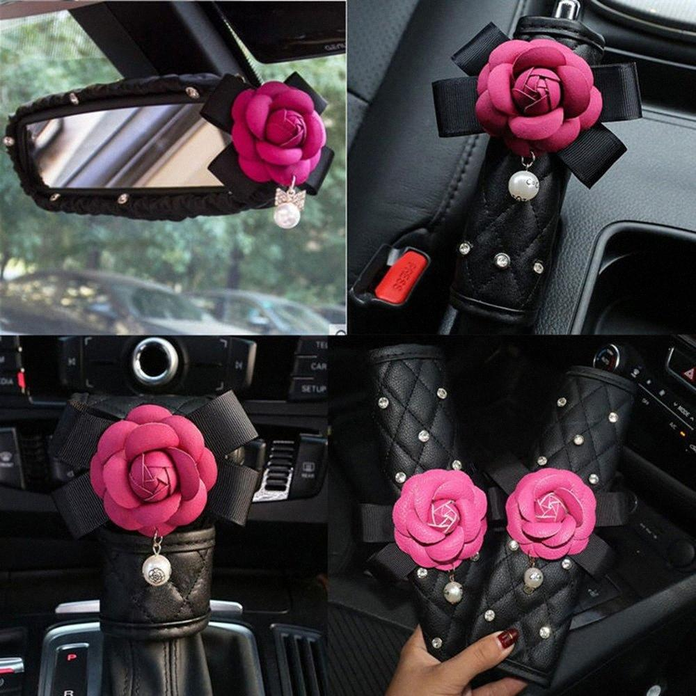 Rose Camellia Flower Crystal Car Accessories Women Leather Hand Brake Shifter Shoulder Pad Seat Belt Cover Rear Mirror Cover FnCG#