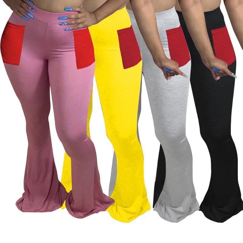 DPSDE Frauen Mode 2020 Frühjahr neue Straße verursachende Art lange Hosen elastische hohe wasit nder Farben lange gerade Hosen