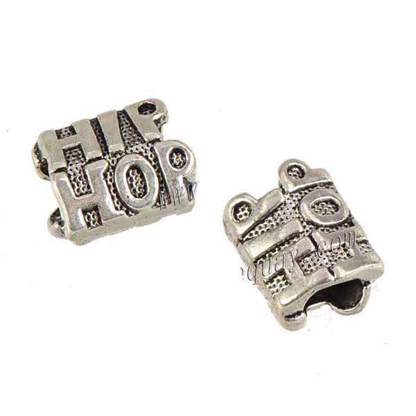 Ювелирные изделия Компоненты Подвески бисер браслет DIY 5мм Большое отверстие музыка Hiphop Письмо Antique Silver Metal 13 * 9 мм для Crafts Изготовление 100шт