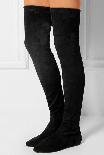 Hot Selling Black Suede Socks Over Knee
