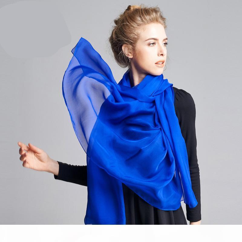 200X130cm Высокое качество Весна Осень Чистый шелковые шарфы Женщины Новый стиль Мода дамы Длинные шали Mulberry Silk Бич шарф шаль