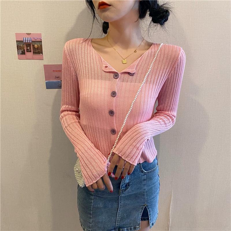 İnce bm uzun kollu üst moda perspektif kontrast renk düğmeleri klima Triko triko Üst knitwearcardigan güneş proo ins