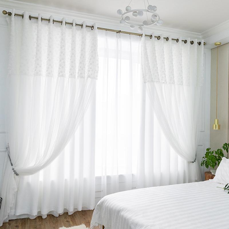 Chicity WHITE Blackout Шторы для гостиной двухслойный элегантный белый роза Кружева занавес для женщин спальни настроить