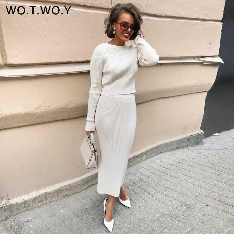 WOTWOY Örme Triko ve Etek İki Adet Set Kadınlar Sonbahar Slim Fit Crop Kadın Triko Etekler 2 Adet Bayan Kıyafetleri ayarlar Tops
