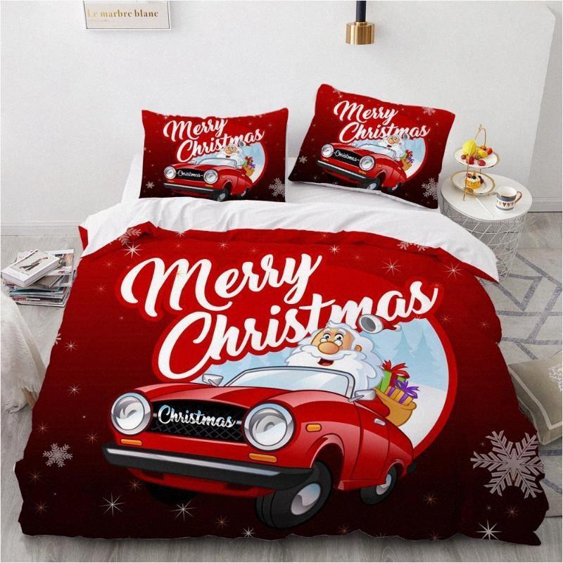 Projeto do Natal 3D Lençois Consolador Quilt Set cama capa Single King Double Queen standard Tamanho Home Textile hPjN #