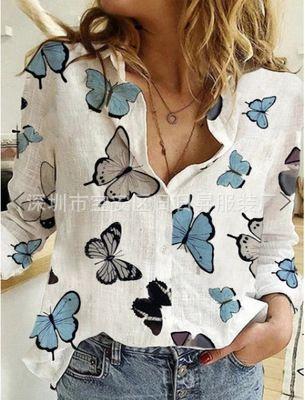2020 bahar ve yaz New Baskılı Yaka kadın q18 2020 ilkbahar ve yaz New Baskılı Yaka kadın Gömlek gömlek q18
