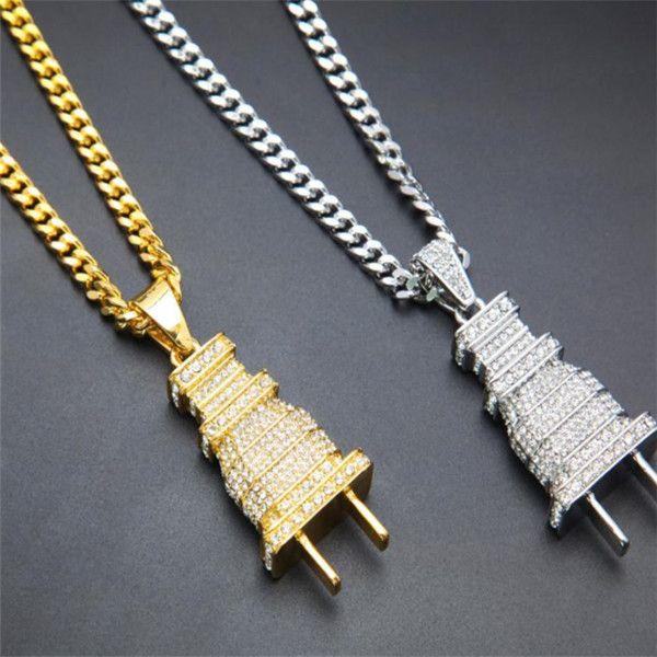 Hip para hombre hacia fuera helado colgante collar Plug nueva joyería collar hop con 60cm cubana eslabón de la cadena.