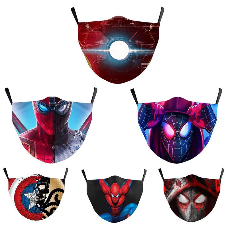 Spiderman Captain America Superheld Adult Designer Luxus Gesichtsmaske Partei Cosplay Masken Wiederverwendbare Staub windundurchlässiges Cotton Festliche Maske