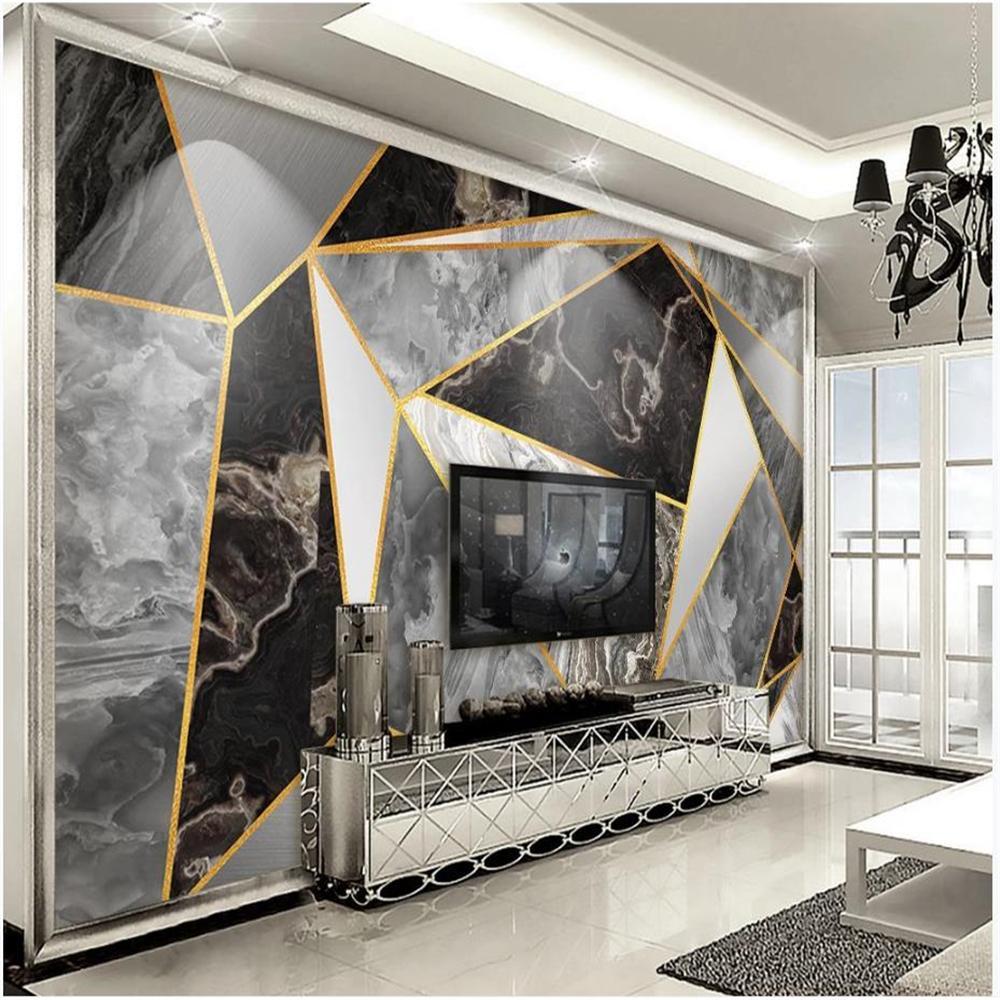 Fonds d'écran 3D fenêtre géométrique abstrait luxe or lumière blanche moderne jazz minimaliste papier peint murale