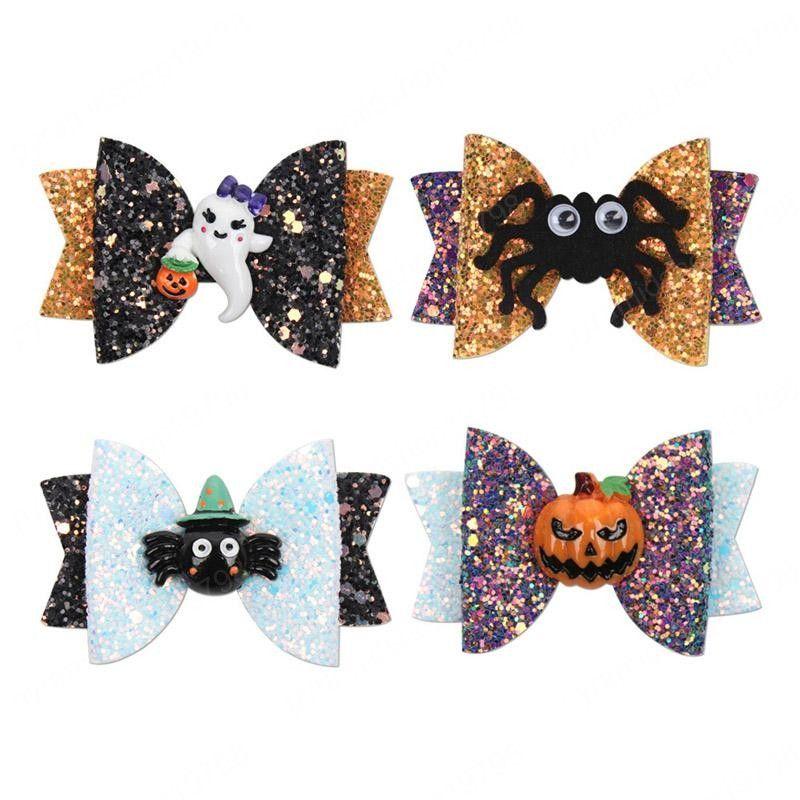 Crianças dos desenhos animados Barrettes 3 Inch Halloween Sequins garras do cabelo 4 cores Arcos Acessórios de cabelo Festival dos desenhos animados Resina Headwear Meninas