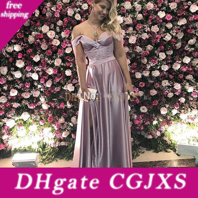 Cheap Prom vestidos de cetim Alças alta Leg Cut-de-rosa Vestido Longo Mulheres vestido formal elegante Robe Soiree Vestido Formatura