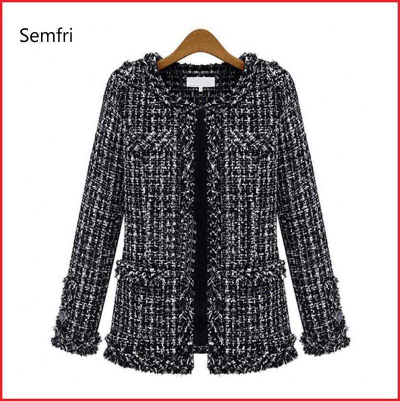 Semfri Coat Kadınlar İlkbahar Sonbahar Temel Ceket Takım Elbise Siyah Beyaz Kadın Baz Ekose Coat Suits Zarif Top 2020 İnce Streetwear CX200811