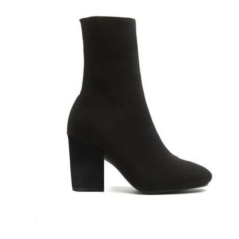 bottes à hauts talons chaussures sexy femme en automne et en hiver bottes en tricot élastique chaussettes talon épais bottes dame lettre talons hauts grande taille 35-42