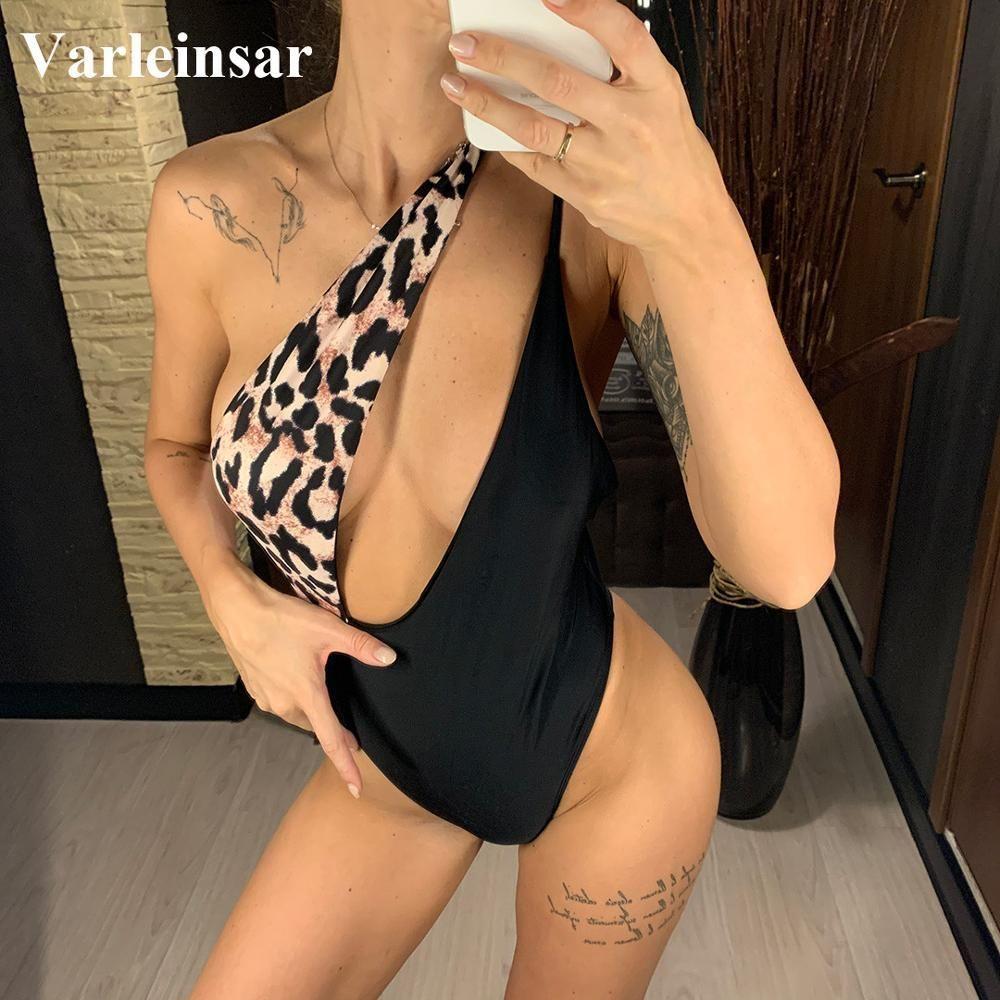 2020 New Sexy de um ombro Monokini Leopard Mulheres Swimwear One Piece Swimsuit Feminino Banhista Terno Swim Lady V1863 Y200824