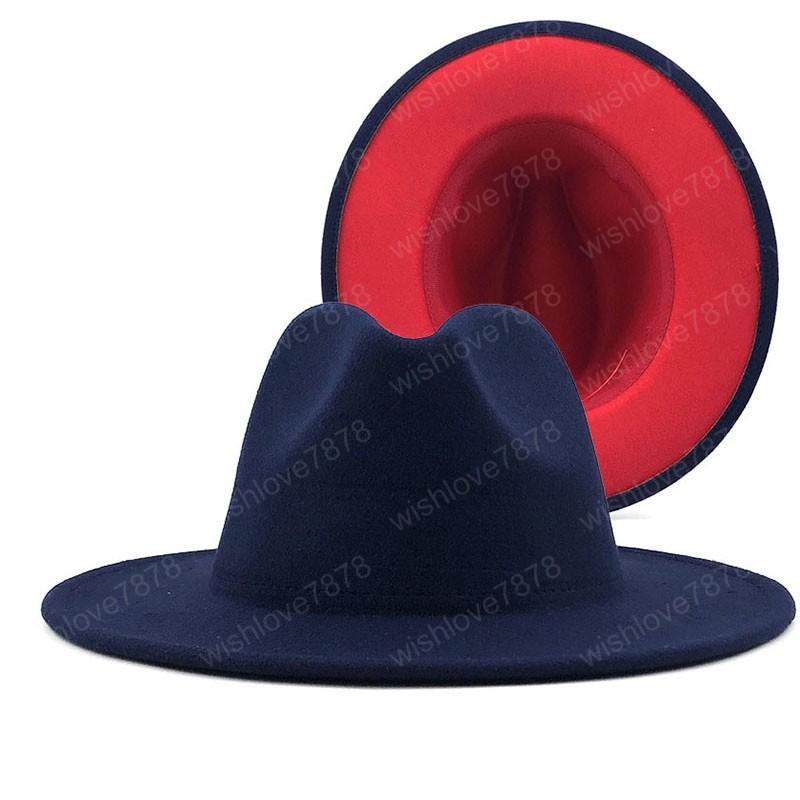 Unisexe marine extérieure et intérieure rouge rouge en feutre de laine Jazz Fedora Chapeaux avec boucle de ceinture mince Hommes Femmes large Brim Panama Trilby Cap