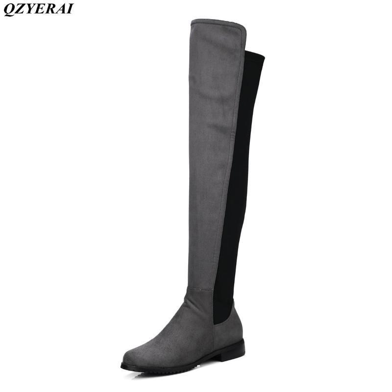 QZYERAI recentemente è arrivato stivaletti tacco al ginocchio lunghi, stivali femminili stretch, scarpe da donna alla moda in stile europeo e americano sexy