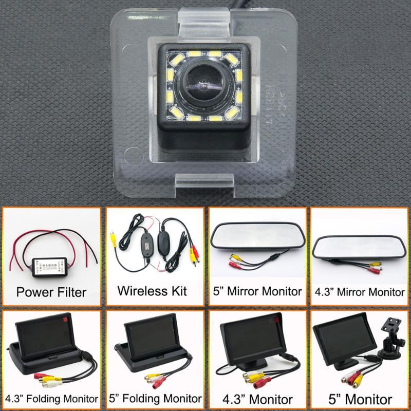 12LED del coche del CCD de copia de seguridad cámara de visión trasera Aparcamiento Espejo LCD Monitor inalámbrico Para GLK Clase GLK 350 X204 GLK250 GLK320