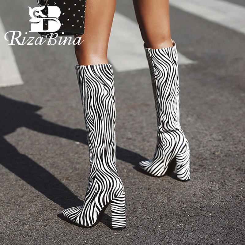 RIZABINA Nouveau Femmes Cuissardes Zebra mode d'impression épais de talons hauts Femmes élégant Toe Lady long Pointu Bottes Taille 36-43