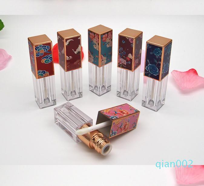 Tubo de 3,5 ml brillo de labios con 3D Priting Patrón Lid vacías Líquido Lápiz labial Muestras Botellas de plástico transparente Lip Glaze Paquete contenedor SN4512